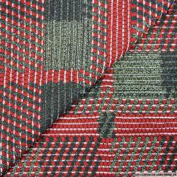 Jacquard Polyviscose carré fantaisie rouge et irisé