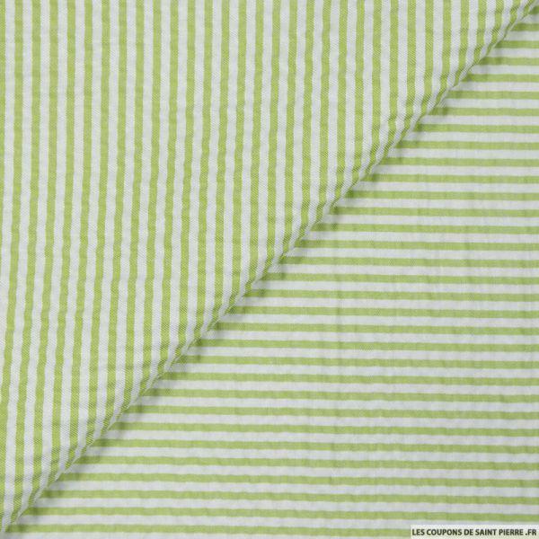Seersucker rayures vert