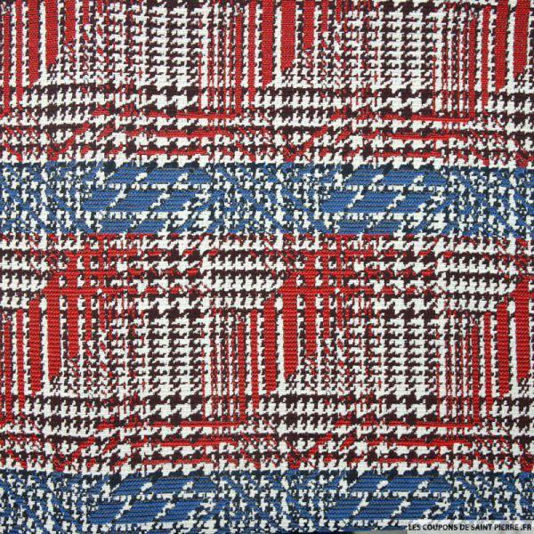 Jacquard Polyviscose carreaux graphique rouge et bleu