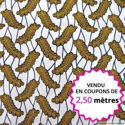 Wax africain petites feuilles ocre fond blanc, vendu en coupon de 2,50 mètres