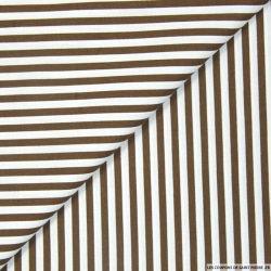Coton imprimé rayé 5 mm marron et blanc