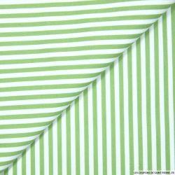 Coton imprimé rayé 5 mm vert tilleul et blanc