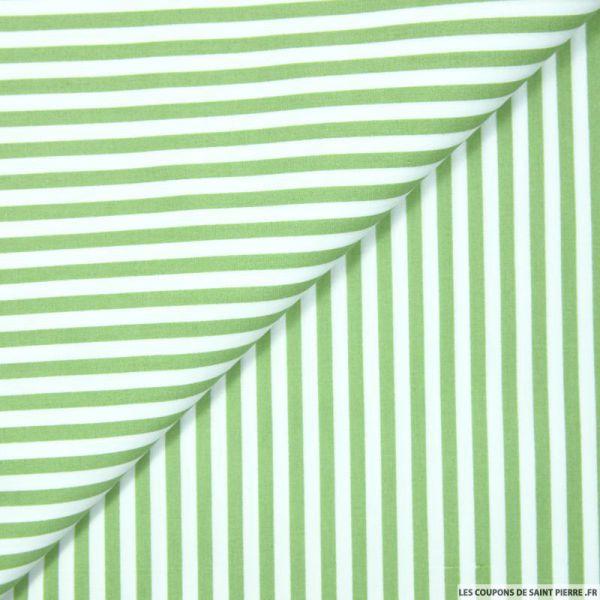 Coton imprimé rayé 0,5 mm vert tilleul et blanc
