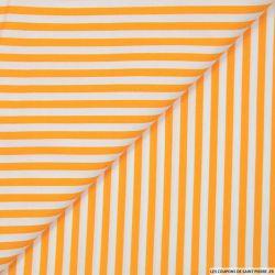 Coton imprimé rayé 5 mm orange et blanc