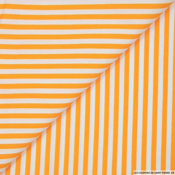 Coton imprimé rayé 0,5 mm orange et blanc