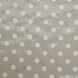 Doublure polyester grège à petites marguerites