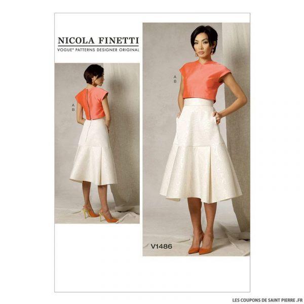 Patron Vogue V1486 : Haut et jupe