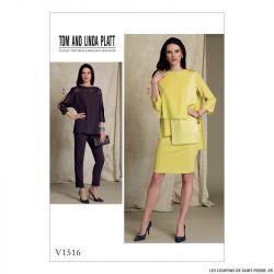 Patron Vogue V1516 : Haut, jupe et pantalon