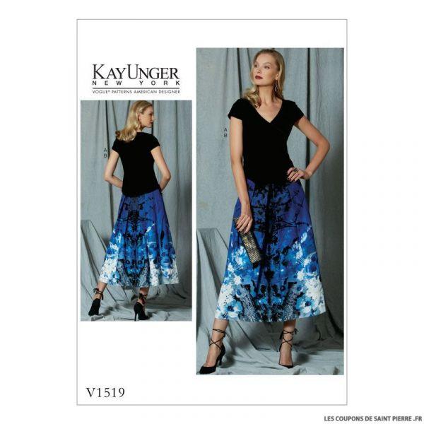 Patron Vogue V1519 : Haut et jupe