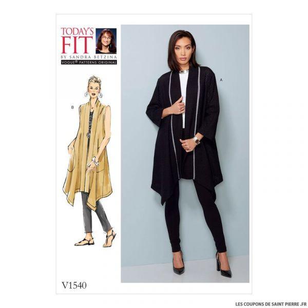 Patron Vogue V1540 : Manteau et gilet