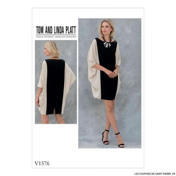 patron vogue v1576 robe coupons de saint pierre. Black Bedroom Furniture Sets. Home Design Ideas