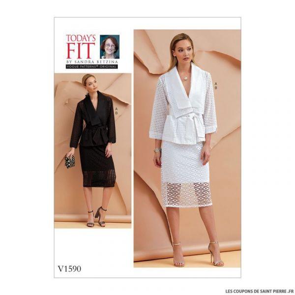 Patron Vogue V1590 : Veste, ceinture et jupe