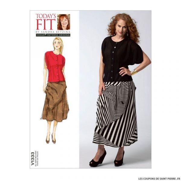 Patron Vogue V1333 : Chemisier et jupe