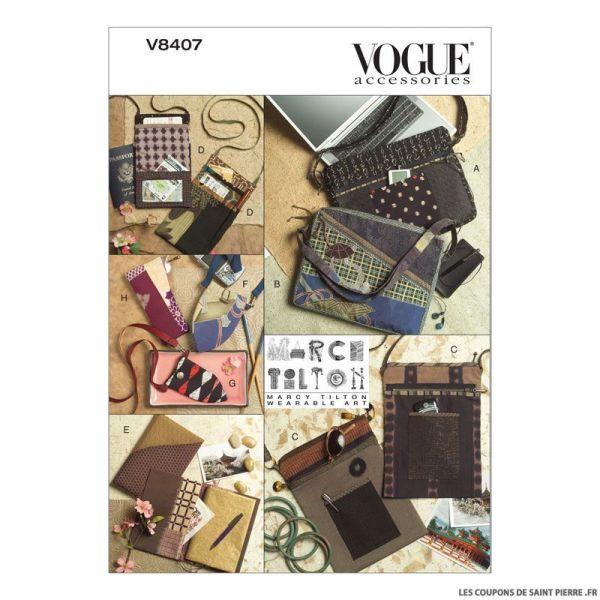 Patron Vogue V8407 : Sacs, étui à lunettes et housse
