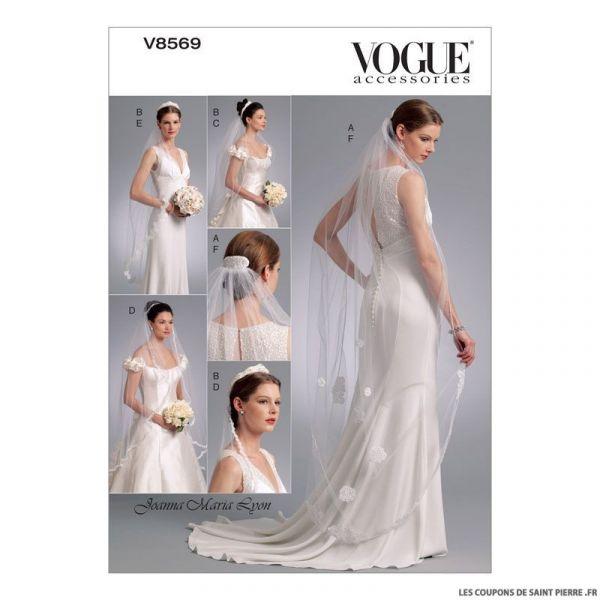 Patron Vogue V8569 : Coiffe, diadème et voile de mariée
