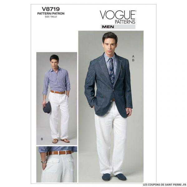 patron vogue v8719 veste et pantalon homme coupons de. Black Bedroom Furniture Sets. Home Design Ideas