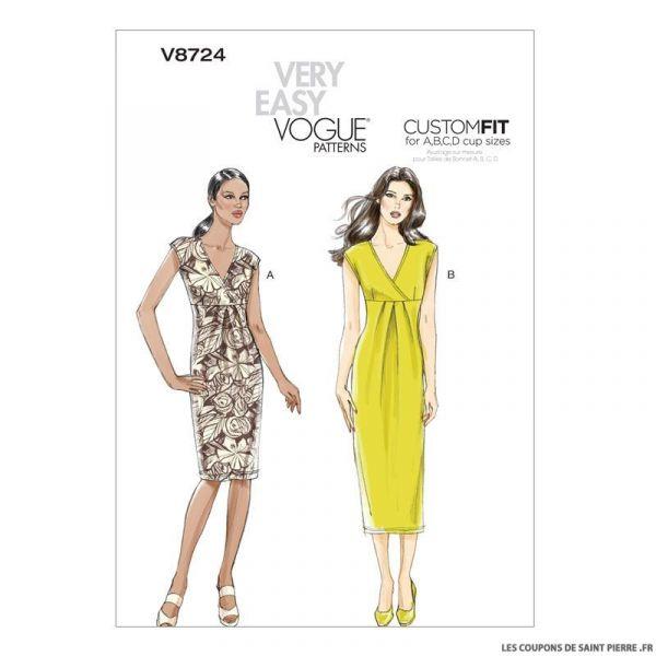 patron vogue v8724 robe coupons de saint pierre. Black Bedroom Furniture Sets. Home Design Ideas