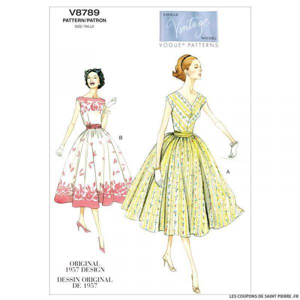 Patron Vogue V8789 : Robe et large ceinture