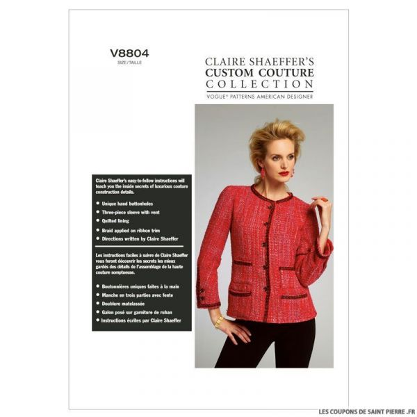 Patron Vogue V8804 : Veste