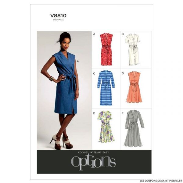 Patron Vogue V8810 : Robe et ceinture