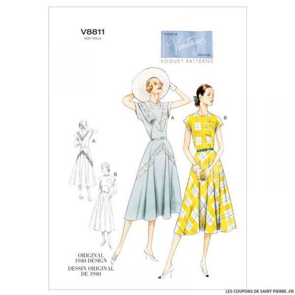 Patron Vogue V8811 : Robe et ceinture