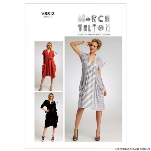 patron vogue v8813 robe coupons de saint pierre. Black Bedroom Furniture Sets. Home Design Ideas