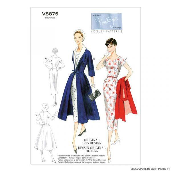 Patron Vogue V8875 : Robe, ceinture et manteau