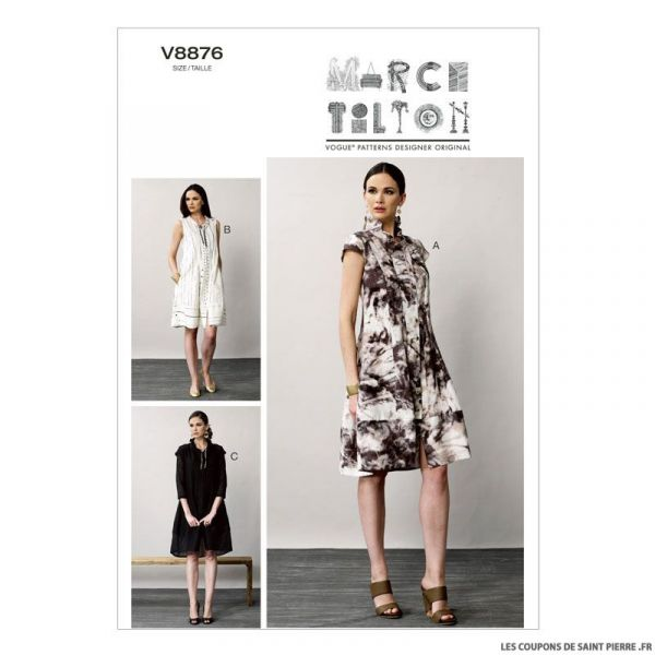 patron vogue v8876 robe coupons de saint pierre. Black Bedroom Furniture Sets. Home Design Ideas