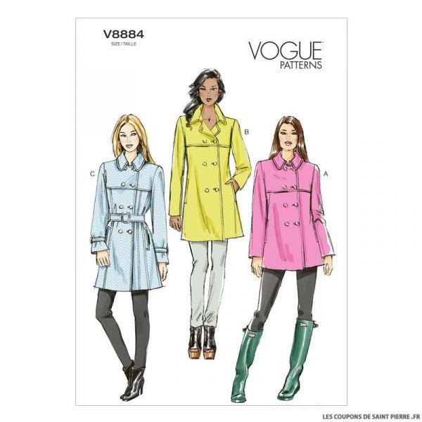 Patron Vogue V8884 : Manteau et ceinture