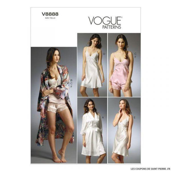 Patron Vogue V8888 : Peignoir, caraco, dessous de robe
