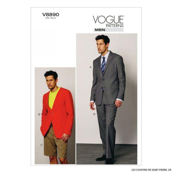 Patron Vogue V8890 : Veste, short et pantalon Homme