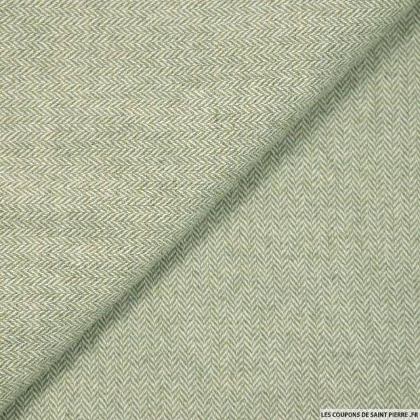 tissu lainage chevrons vert tilleul vendu en coupon de 3. Black Bedroom Furniture Sets. Home Design Ideas