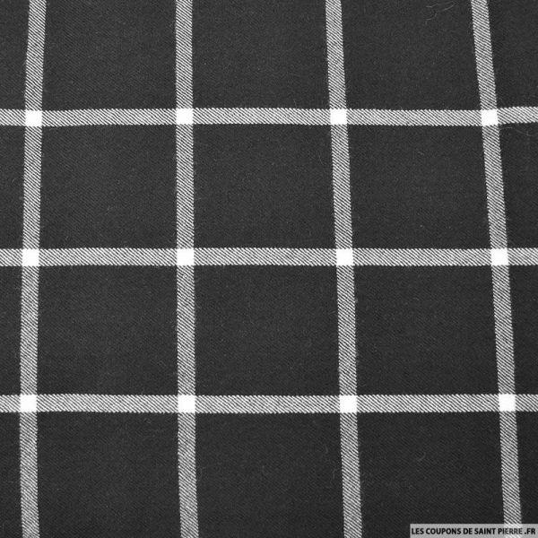 tissu lainage grands carreaux noir et cru vendu en. Black Bedroom Furniture Sets. Home Design Ideas