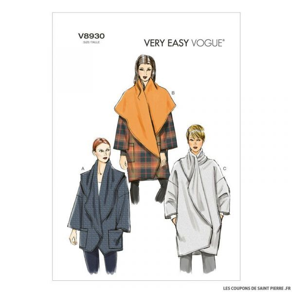 Patron Vogue V8930 : Veste portefeuille