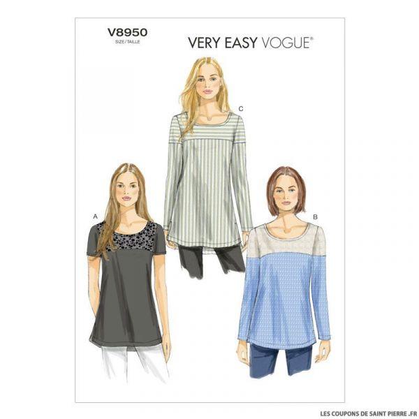 Patron Vogue V8950 : Tunique semi-ajustée