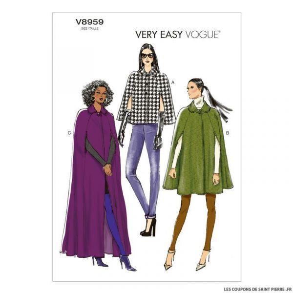 Patron Vogue V8959 : Cape à col