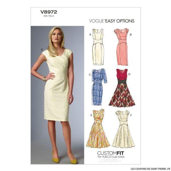 Patron Vogue V8972 : Robe à glissière
