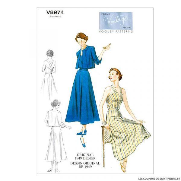 Patron Vogue V8974 : Veste, Robe et ceinture