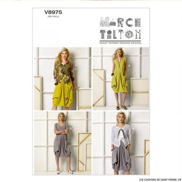Patron Vogue V8975: Robe poches drapées et Veste