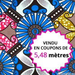 Wax africain rosace bleue vendu en coupon de 5,48 mètres