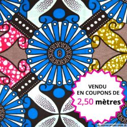 Wax africain rosace bleue, vendu en coupon de 2,50 mètres
