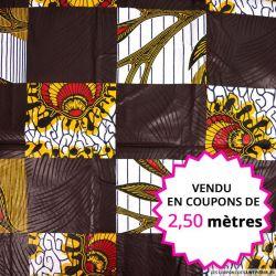 Wax africain damier marron et vegetal, vendu en coupon de 2,50 mètres
