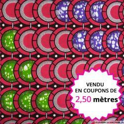 Wax africain carapace magenta,violet et vert, vendu en coupon de 2,50 mètres