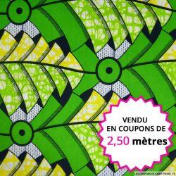Wax africain palmiers vert et jaune, vendu en coupon de 2,50 mètres