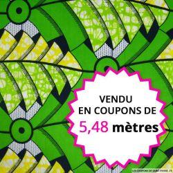 Wax africain palmiers vert et jaune, vendu en coupon de 5,48 mètres