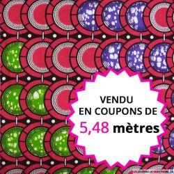 Wax africain damier marron et vegetal, vendu en coupon de 5,48 mètres