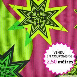 Wax africain étoiles vert et fuchsia, vendu en coupon de 2,50 mètres