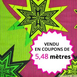 Wax africain étoiles vert et fuchsia, vendu en coupon de 5,48 mètres