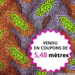 Wax africain feuillage orange et vert, vendu en coupon de 5,48 mètres