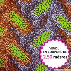 Wax africain feuillage orange et vert, vendu en coupon de 2,50 mètres